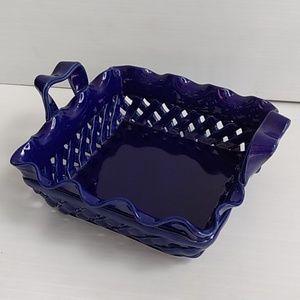 """Other - Blue Ceramic Weave Basket Vase Portugal 10""""x9""""x3"""""""